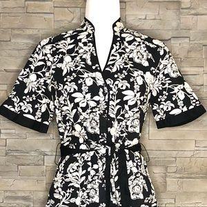 Haggar black and white floral shirt, NEW
